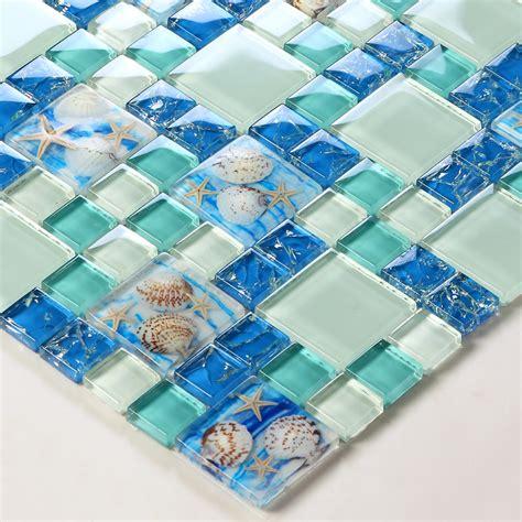 Tst glass conch tiles beach style sea blue glass tile green glass mosaics wall art kitchen