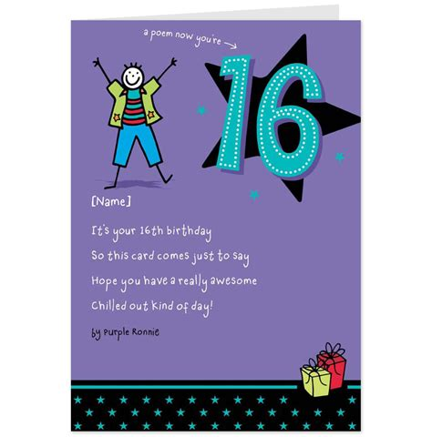 16th Birthday Card Birthday Card Personalised Black And Purple Th Pictures