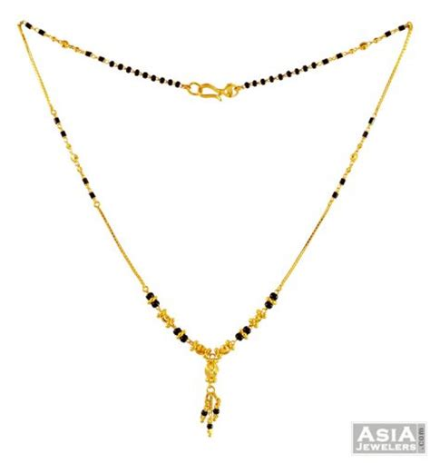black bead chains in gold 22k holy mangalsutra chain ajch56532 22k gold