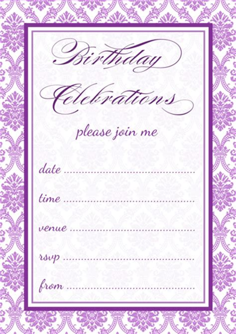 Free Printable Purple Damask Party Invitations Template Purple Invitation Template