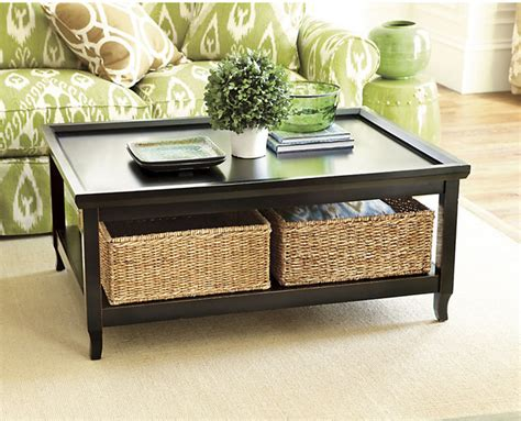 cocktail table with woven basket transitional