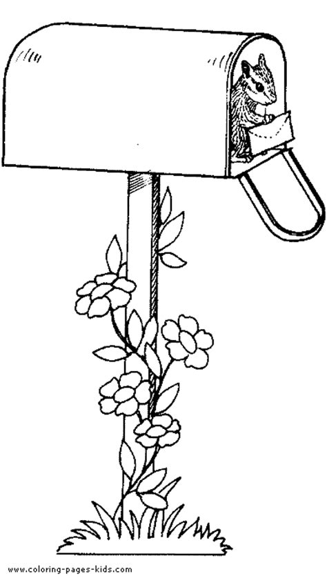 Squirrel In A Mail Box Color Page Free Coloring Books By Mail