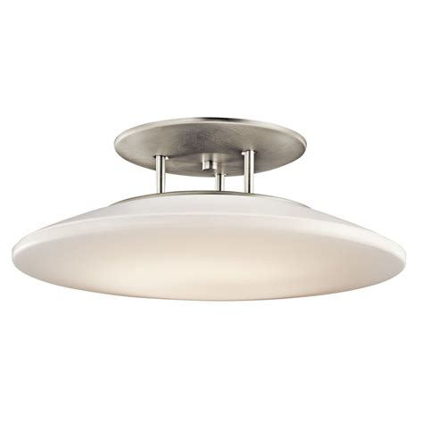 brushed nickel kitchen lighting shop kichler lighting ara 20 in w brushed nickel semi
