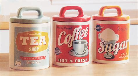 vintage 60s retro style ceramic tea coffee sugar canisters