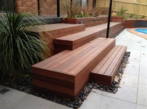 staggered steps deck stones pavers garden ideas