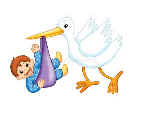 clipart nascita bambino cicogna con un bambino maschio illustrazione di stock