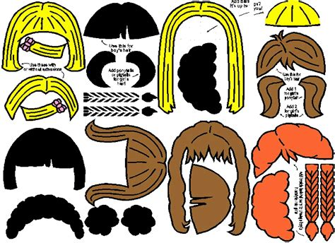 printable hair templates printable hair templates for paper dolls paperdoll