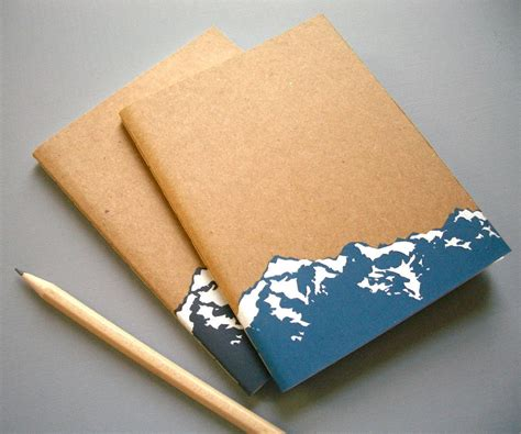 notebook cover design handmade small mountain notebook journal screen printed blank
