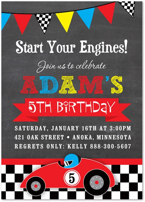 Cars Invitation Cards Templates by Boy Birthday Invitations Race Car Chalkboard Birthday