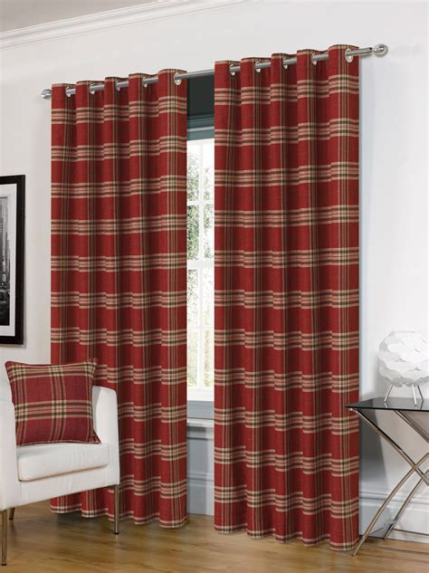 tartan curtains stylish trendy ringtop eyelet lined highland mist tartan