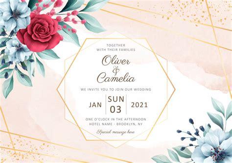elegant horizontal wedding invitation card template
