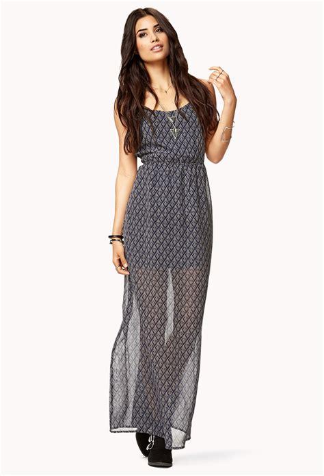 Dress Batik Chyntia forever 21 batik print maxi dress in gray navy beige lyst