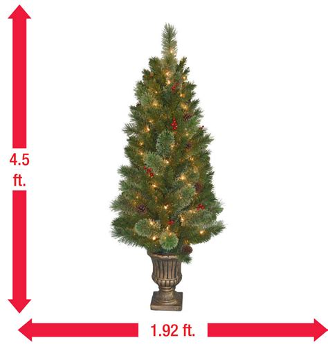 4 ft cone berry snow tip tree national tree company 4 5 ft cone and berry decorated potted artificial tree
