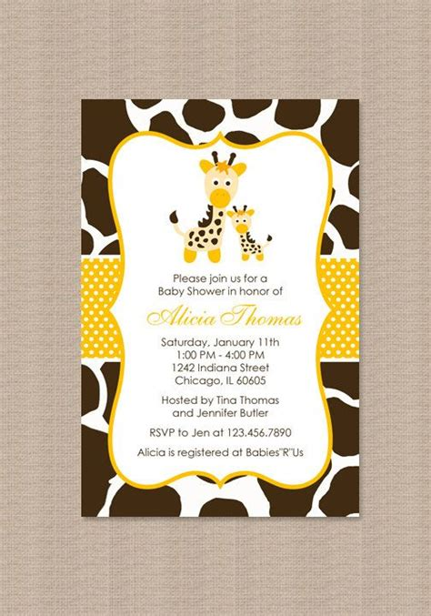 printable giraffe baby shower invitation gender neutral