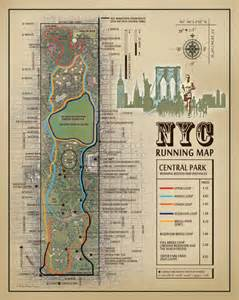 Running Route Map by Nyc Central Park Running Route Map Vintage By
