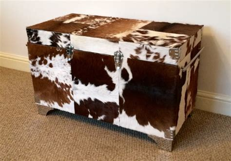 cowhide storage ottoman large cowhide ottoman trunks and chests coffee table hair