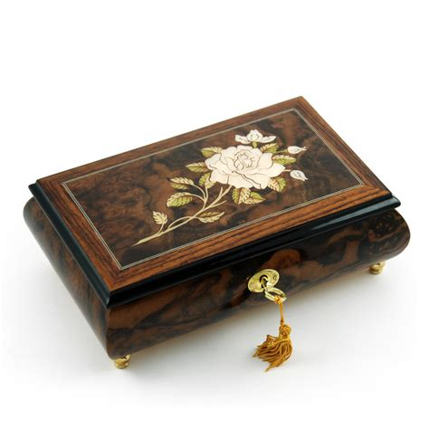 exquisite single stem white musical jewelry box