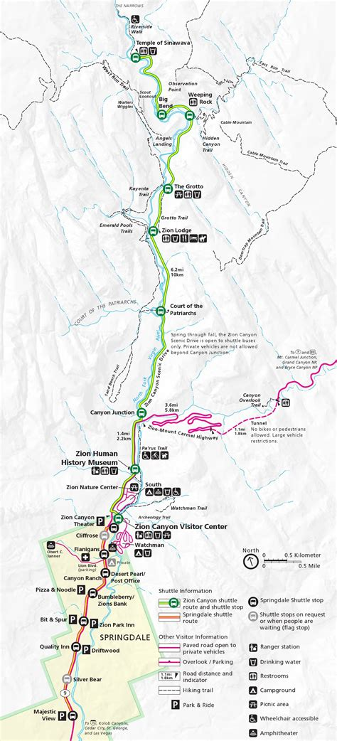 zion park map this is a map of zion and the shuttle route in