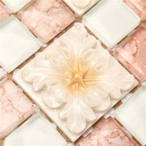 flower design floor tiles wholesale mosaic tile crystal glass backsplash bedroom