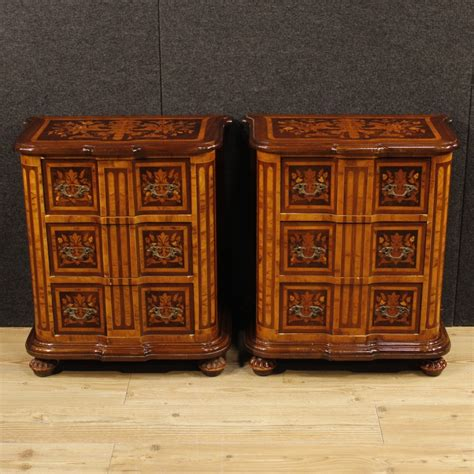 ori furniture cost pair of italian bedside tables in inlaid wood for sale