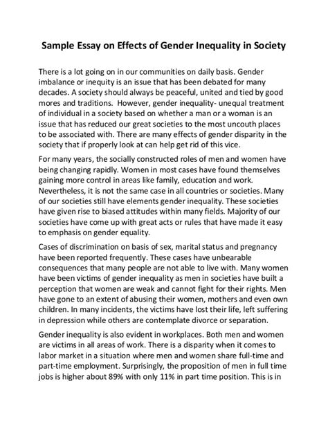 Gender Inequality Essays by Sle Essay On Effects Of Gender Inequality In Society