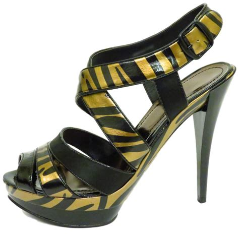 gold shoes size 3 black gold zebra platform peep toe strappy