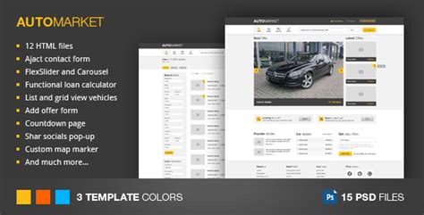 Automarket Html Vehicle Marketplace Template By Clapat Themeforest Marketplace Website Template