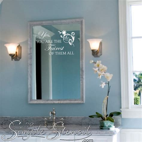 mirror decals for bathrooms fairest of them all vinyl wall mirror quote simple