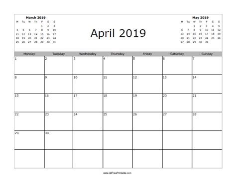 Calendar 2019 April April 2019 Calendar Free Printable Allfreeprintable