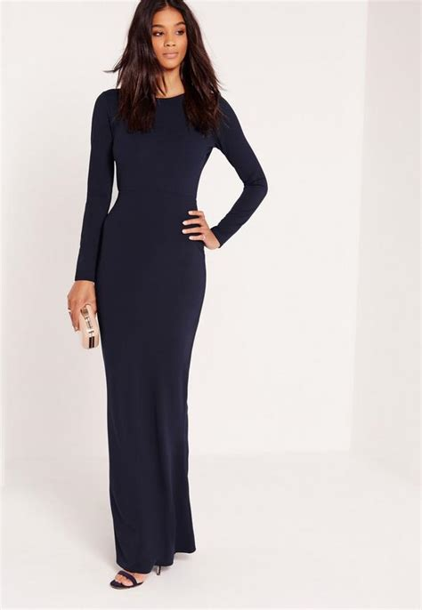 Carolline Longsleeve Maxi Denim Diskon sleeve open back maxi dress navy missguided