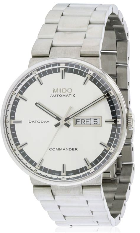 Mido M0144301103100 Commander Ii mido commander ii stainless steel automatic mens m014 430 11 031 00