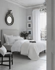 peaceful grey white bedroom just decorate