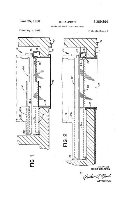 elevator in section patent us3389504 elevator door construction google patents