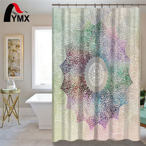 bohemian bathroom accessories indian mandala shower curtain lotus printed bohemian waterproof bathroom accessories