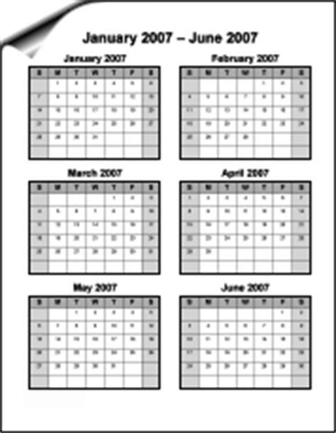 free 6 month calendar template 6 month calendar printable calendar template 2016