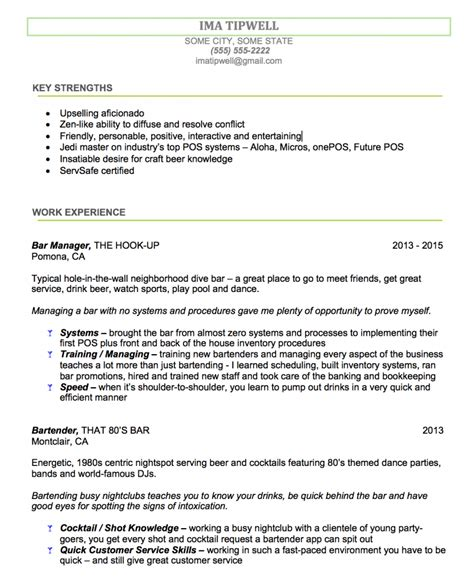 Resume Sle No Experience Exles sle resume for bartender 28 images bartender resume