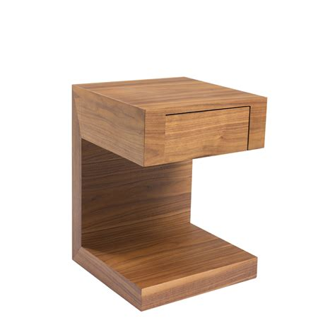seattle bedside table with drawer walnut dwell