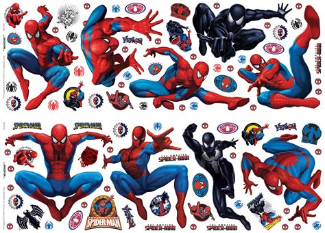 Spiderman Wall Stickers marvel spiderman multicolour self adhesive wall sticker l
