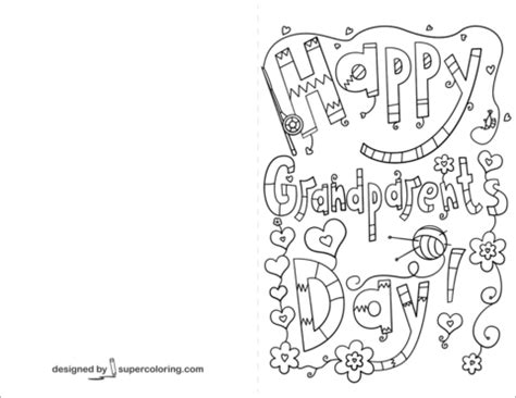 grandparents day card template happy grandparents day doodle card coloring page free