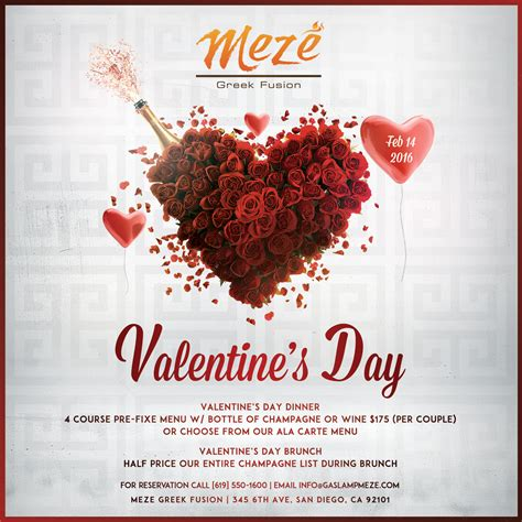 valentines day brunch valentines day dinner at mez 233 gasl restaurant