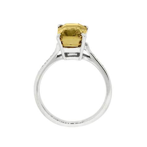 14k white gold citrine 0 15ctw diamonds ring