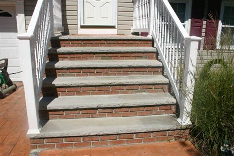 Porch Handrails For Steps Masonry Steps With Limestone Brick Veneers And Stamped