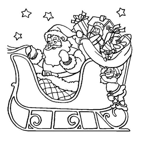 coloring page of santa in his sleigh christmas eve coloring pages cool images