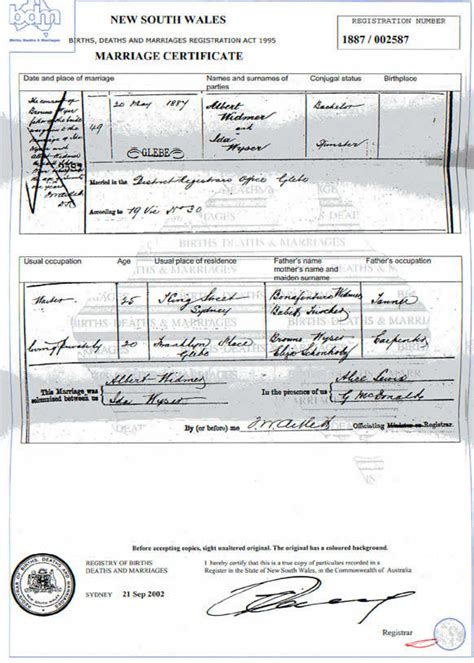 Marriage Records Australia Australian Marriage Certificate Picture Image By