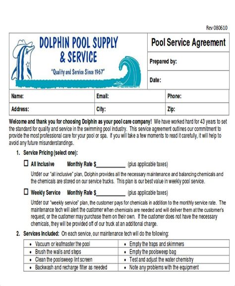 pool service contract template 10 service contract sles in pdf sle templates