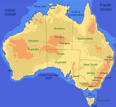 australian map of world australia