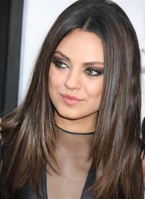 long straight hair styles hi and low lite mila kunis has great exle of dark chestnut brown with