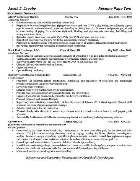 Sample Resume Objectives For Trades by Plumber Resume Example