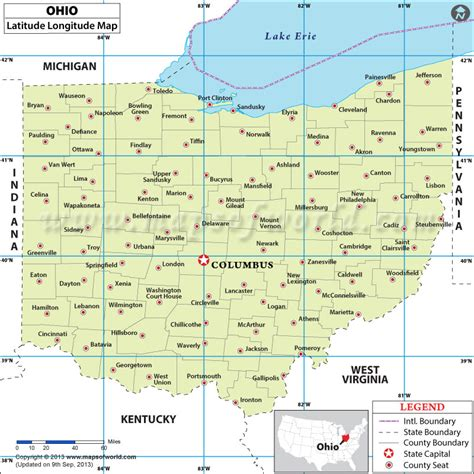 usa map with longitude and latitude ohio latitude and longitude map lat of ohio state usa