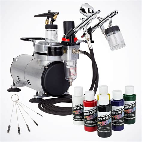 complete airbrush kit air compressor  primary color  airbrush hobby auto paint ebay